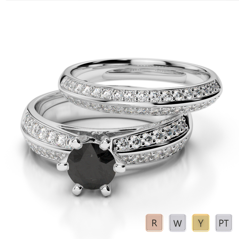 Gold / Platinum Round cut Black Diamond with Diamond Bridal Set Ring AGDR-1147
