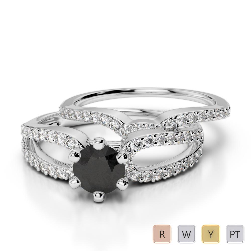 Gold / Platinum Round cut Black Diamond with Diamond Bridal Set Ring AGDR-1148