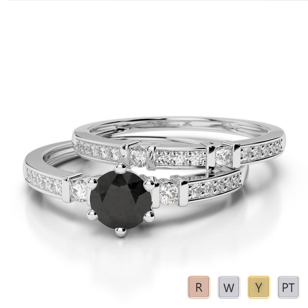 Gold / Platinum Round cut Black Diamond with Diamond Bridal Set Ring AGDR-1150
