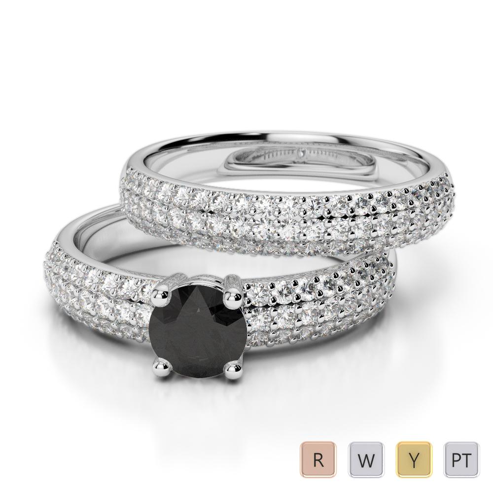 Gold / Platinum Round cut Black Diamond with Diamond Bridal Set Ring AGDR-1152