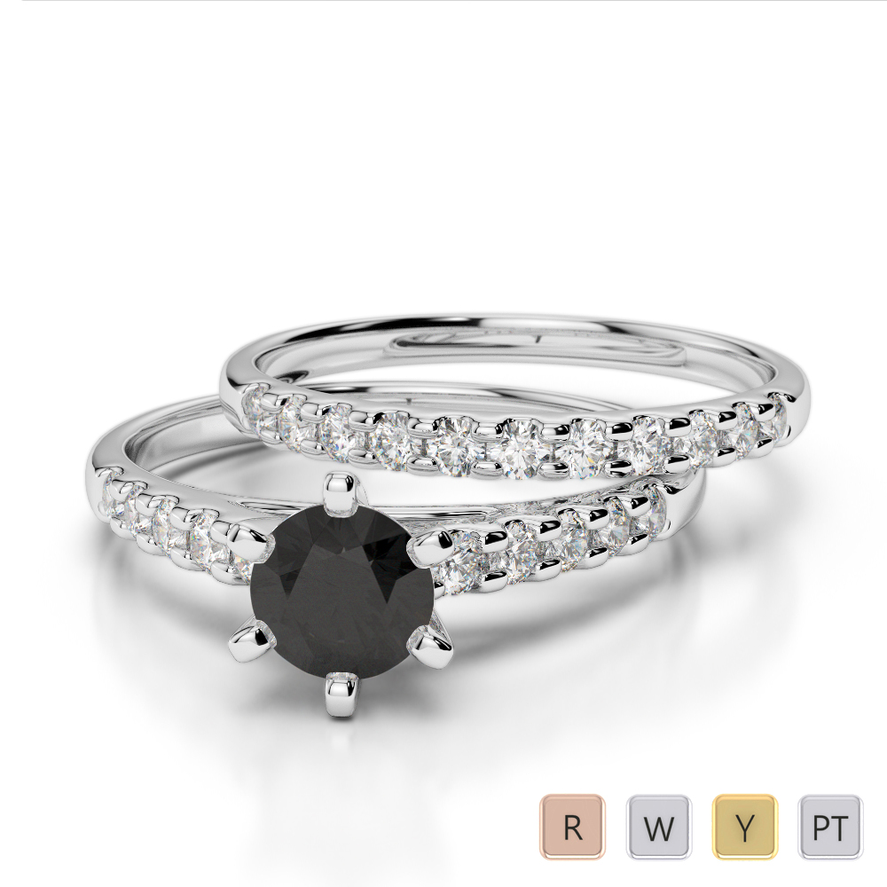 Gold / Platinum Round cut Black Diamond with Diamond Bridal Set Ring AGDR-1153