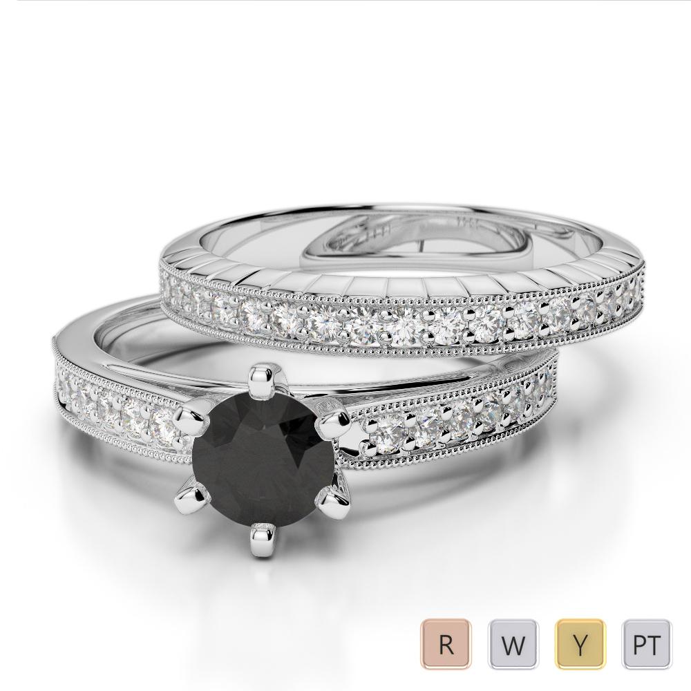 Gold / Platinum Round cut Black Diamond with Diamond Bridal Set Ring AGDR-1154