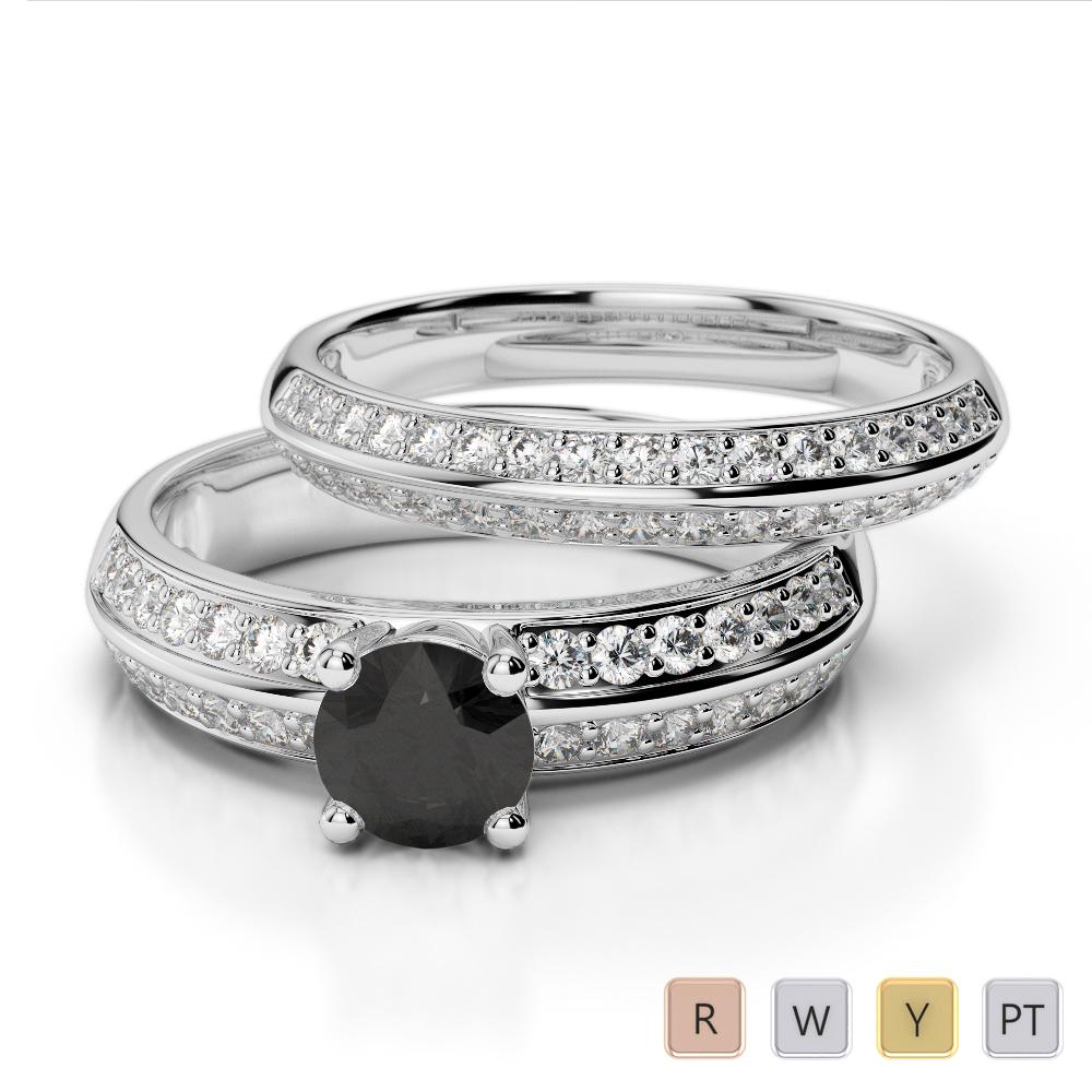Gold / Platinum Round cut Black Diamond with Diamond Bridal Set Ring AGDR-1156