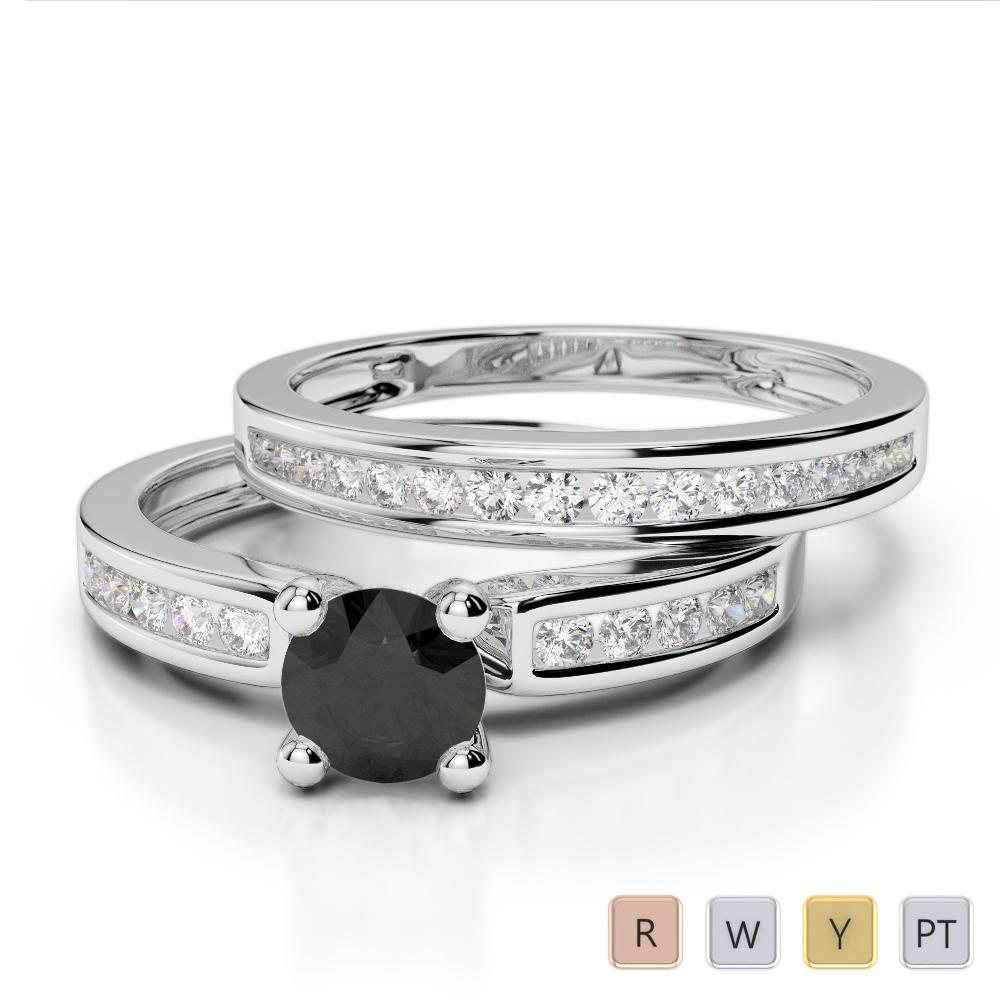 Gold / Platinum Round cut Black Diamond with Diamond Bridal Set Ring AGDR-1157