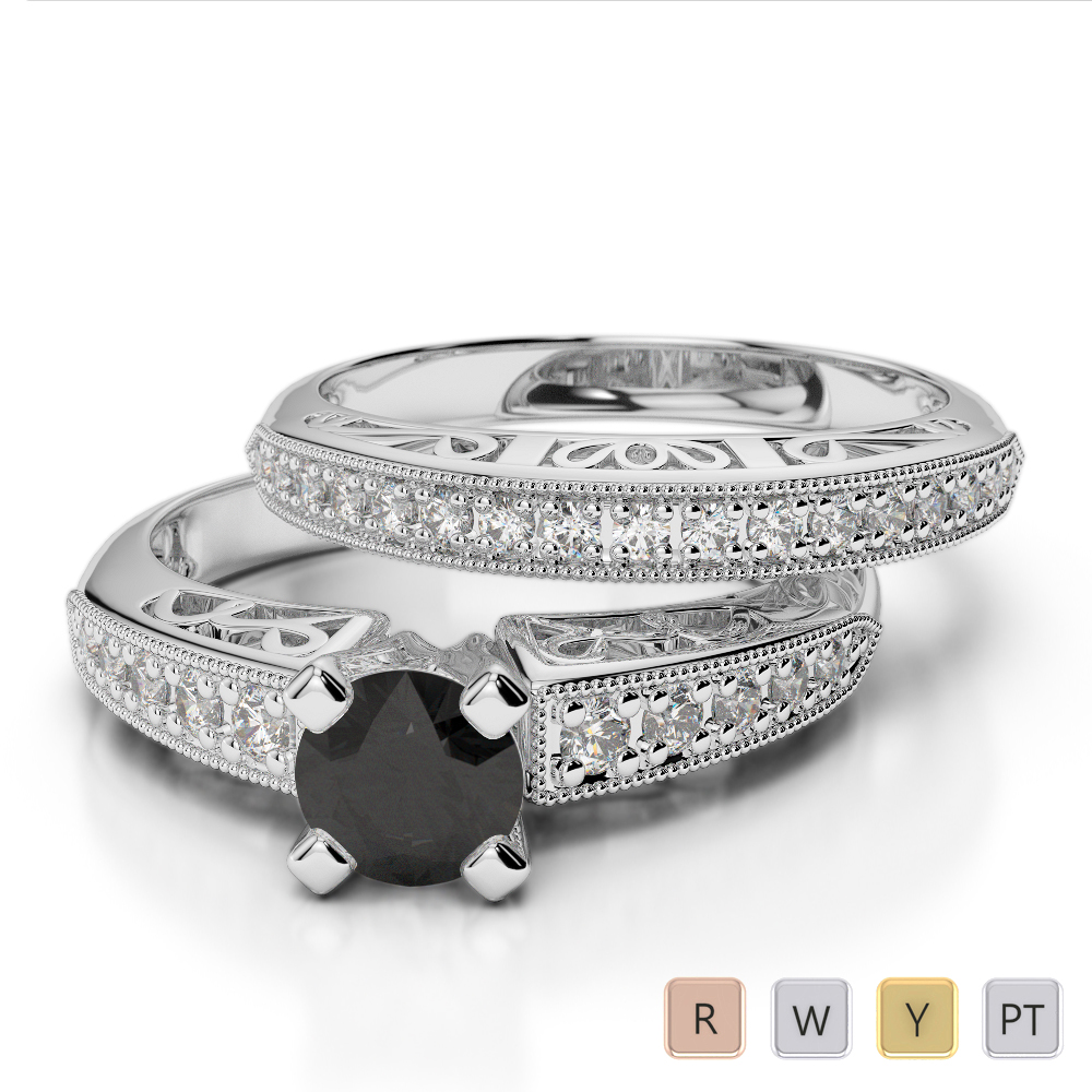 Gold / Platinum Round cut Black Diamond with Diamond Bridal Set Ring AGDR-1160