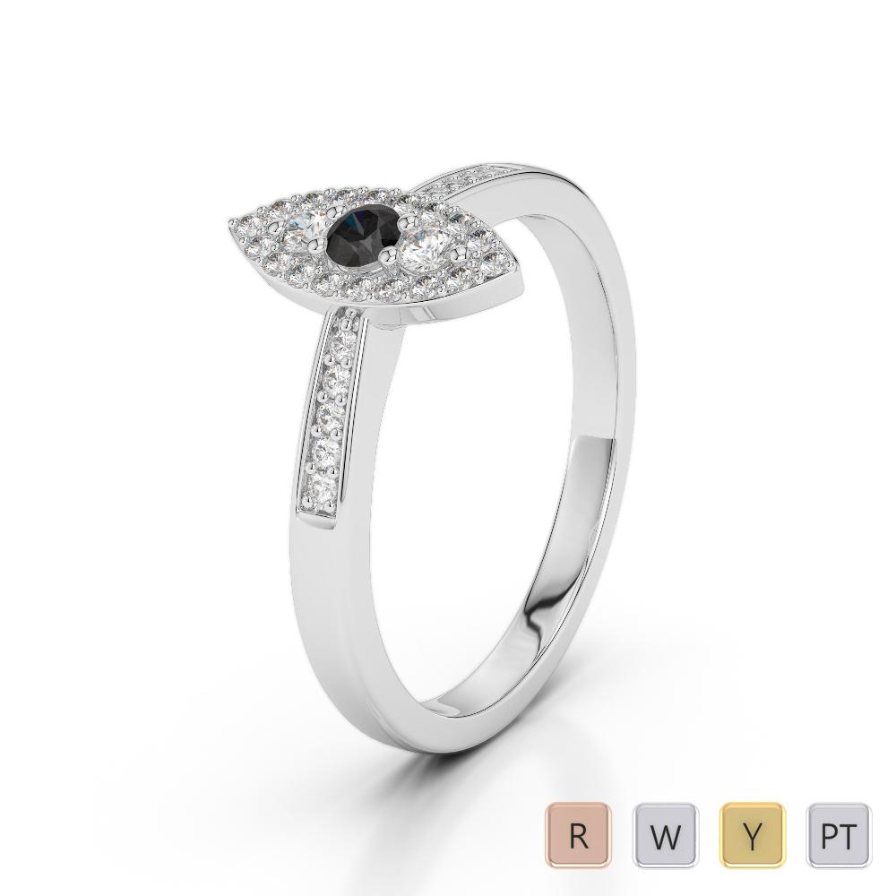 Gold / Platinum Round Cut Black Diamond with Diamond Engagement Ring AGDR-1161