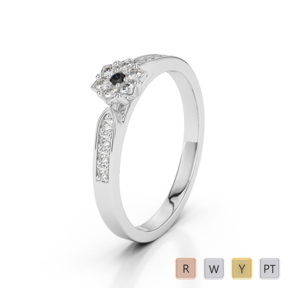 Gold / Platinum Round Cut Black Diamond with Diamond Engagement Ring AGDR-1162