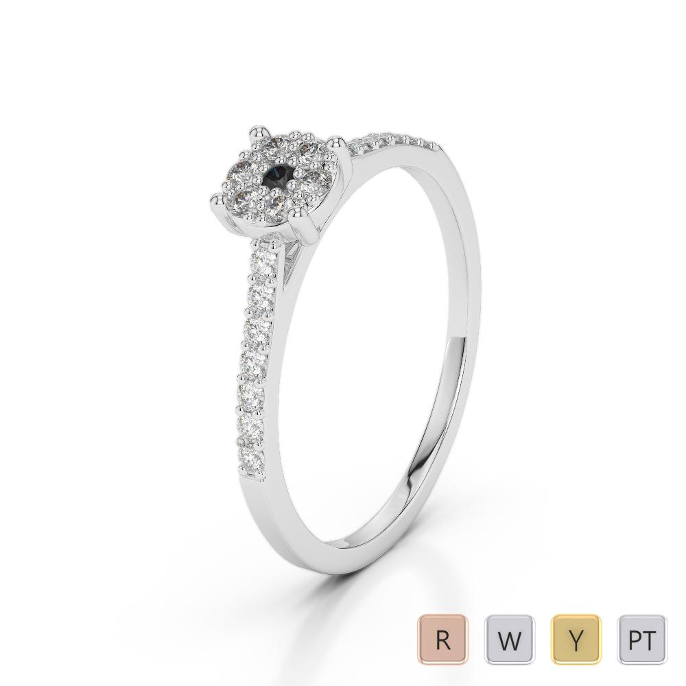 Gold / Platinum Round Cut Black Diamond with Diamond Engagement Ring AGDR-1164