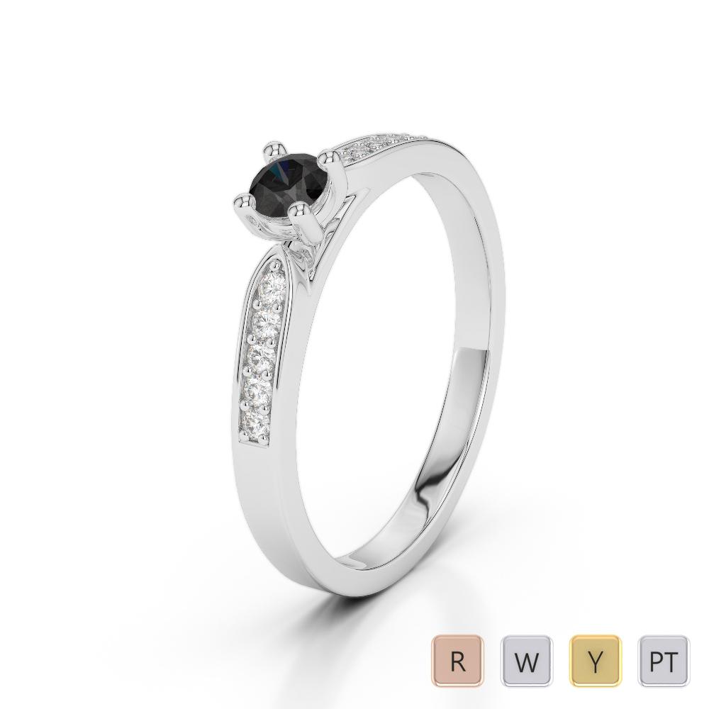 Gold / Platinum Round Cut Black Diamond with Diamond Engagement Ring AGDR-1165