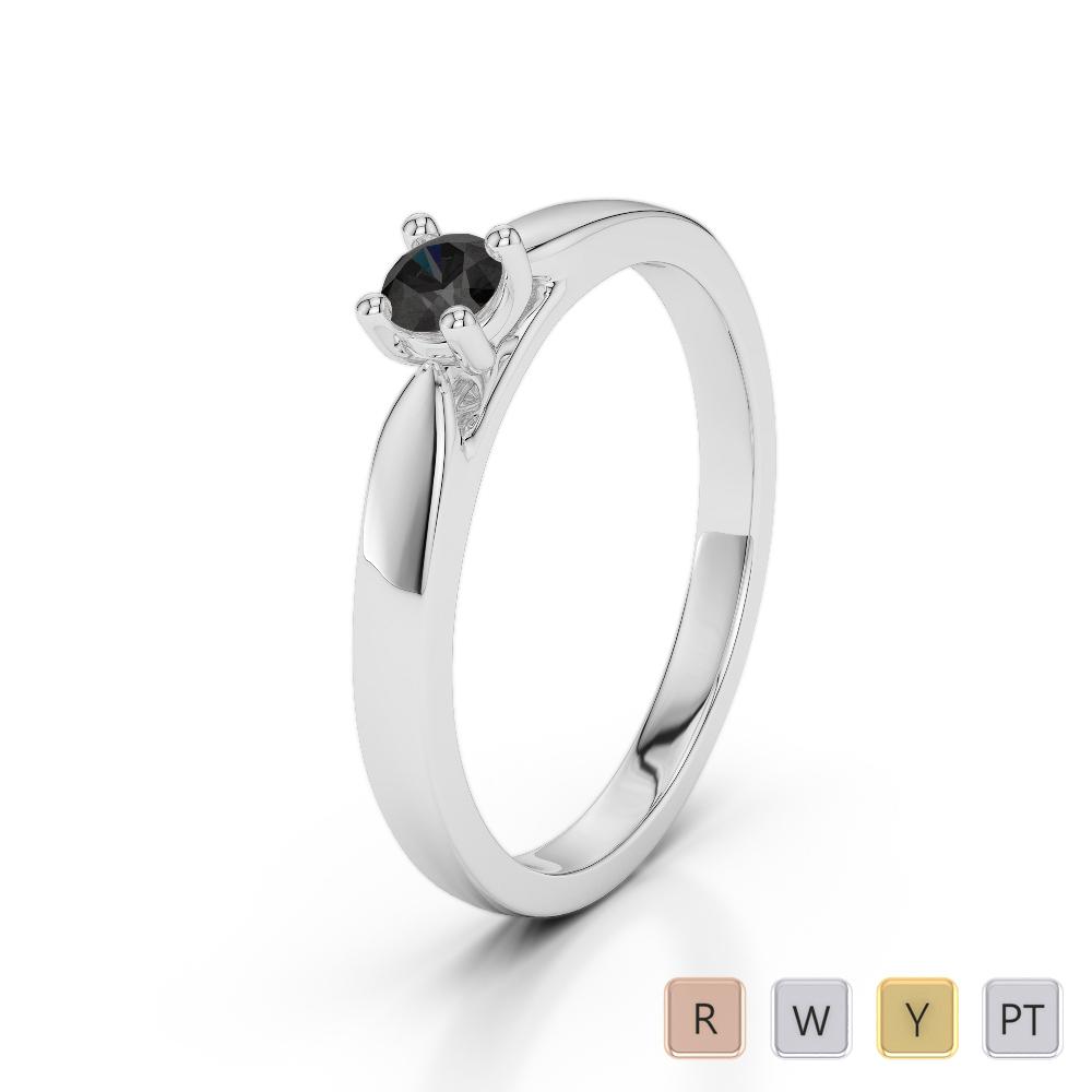 Gold / Platinum Round Cut Black Diamond Engagement Ring AGDR-1166