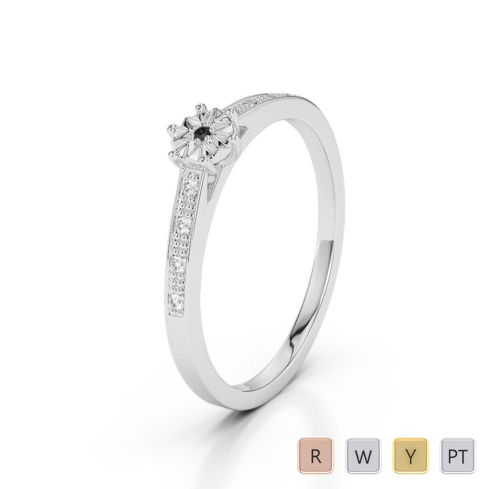 Gold / Platinum Round Cut Black Diamond with Diamond Engagement Ring AGDR-1167