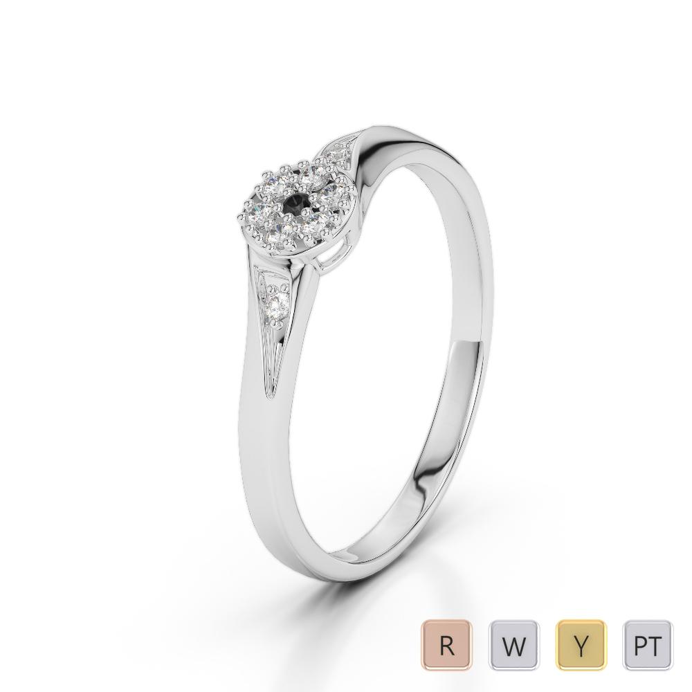 Gold / Platinum Round Cut Black Diamond with Diamond Engagement Ring AGDR-1168