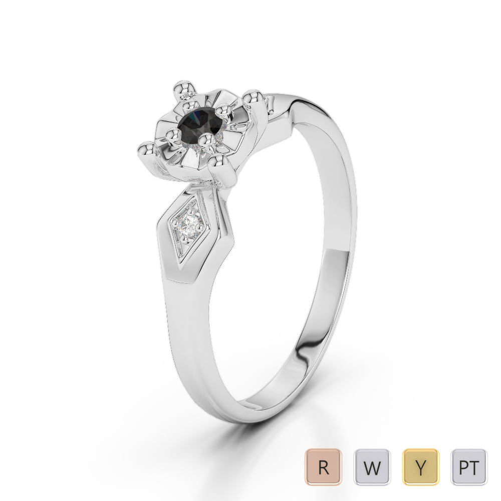 Gold / Platinum Round Cut Black Diamond with Diamond Engagement Ring AGDR-1169