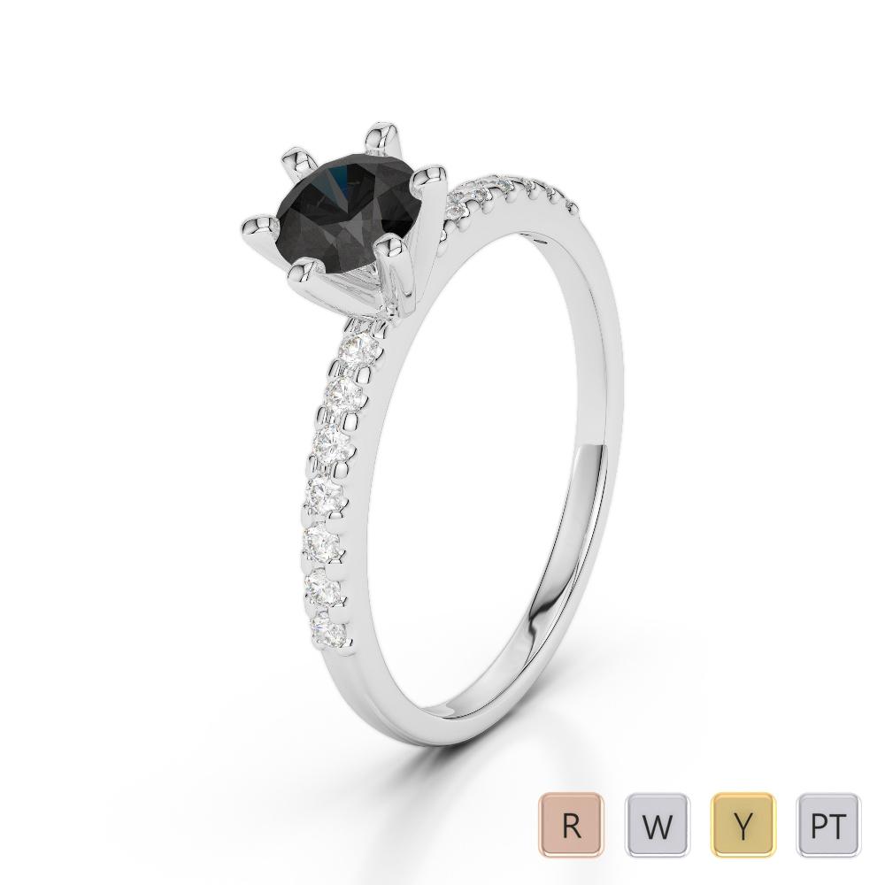 Gold / Platinum Round Cut Black Diamond with Diamond Engagement Ring AGDR-1172