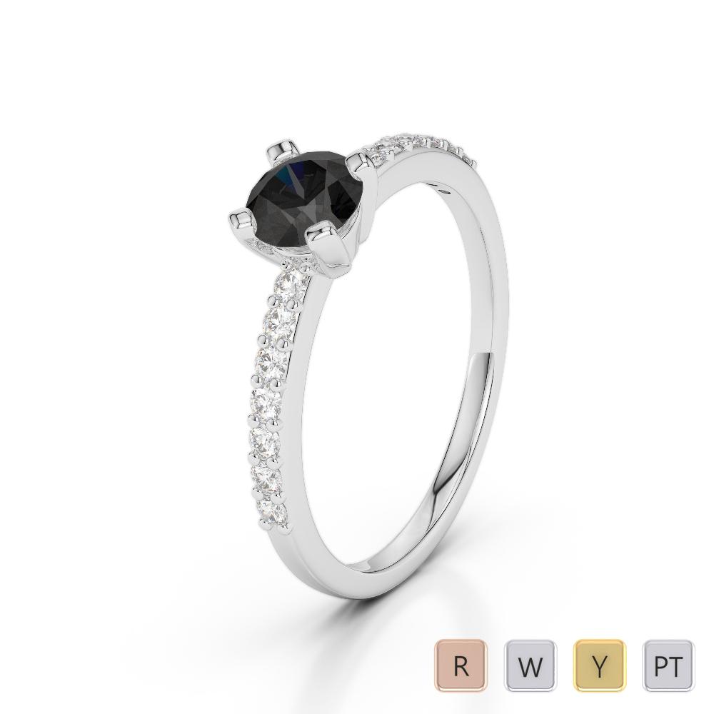 Gold / Platinum Round Cut Black Diamond with Diamond Engagement Ring AGDR-1173