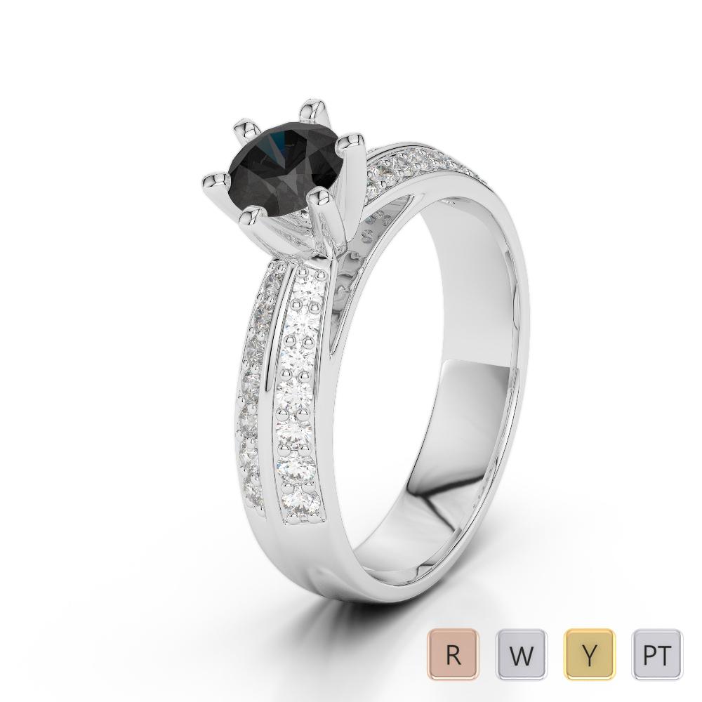 Gold / Platinum Round Cut Black Diamond with Diamond Engagement Ring AGDR-1174