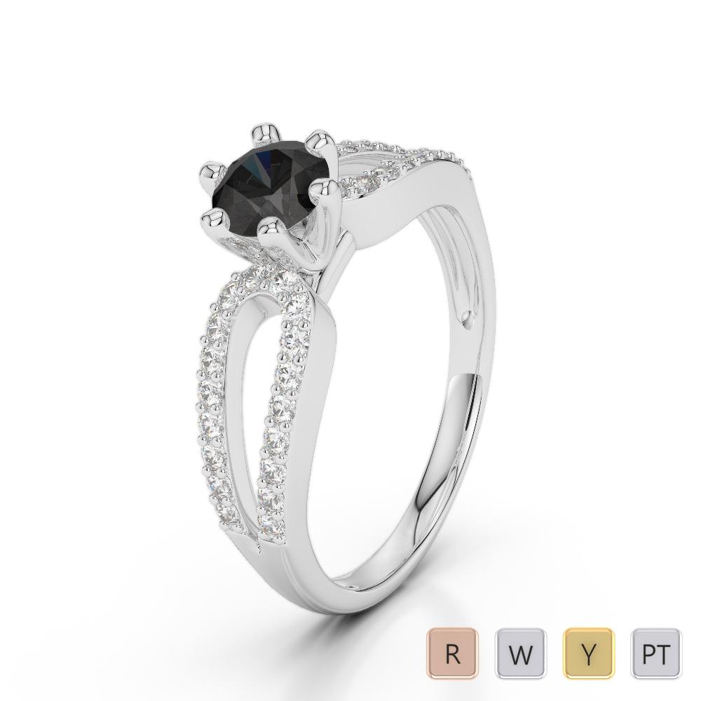 Gold / Platinum Round Cut Black Diamond with Diamond Engagement Ring AGDR-1175