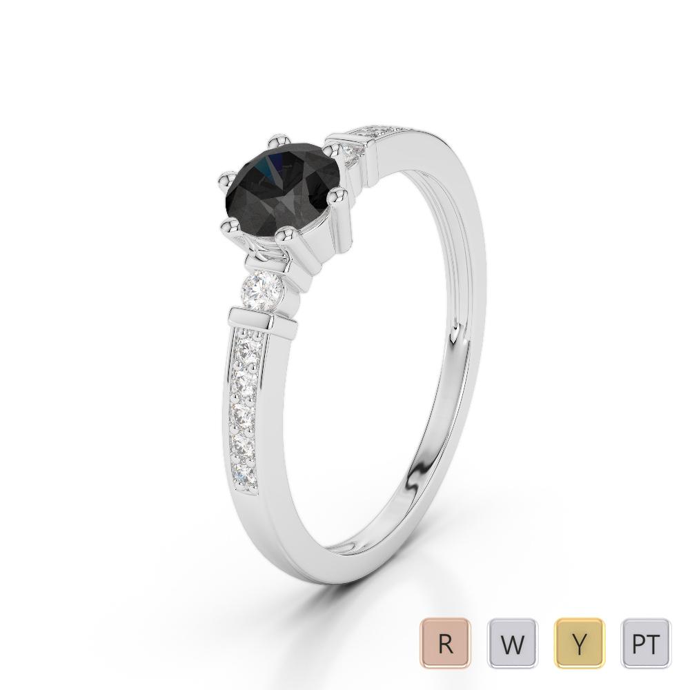 Gold / Platinum Round Cut Black Diamond with Diamond Engagement Ring AGDR-1177