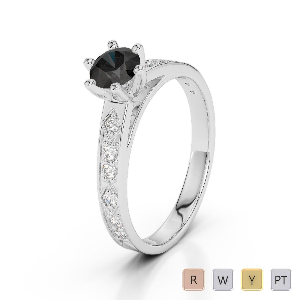 Gold / Platinum Round Cut Black Diamond with Diamond Engagement Ring AGDR-1178