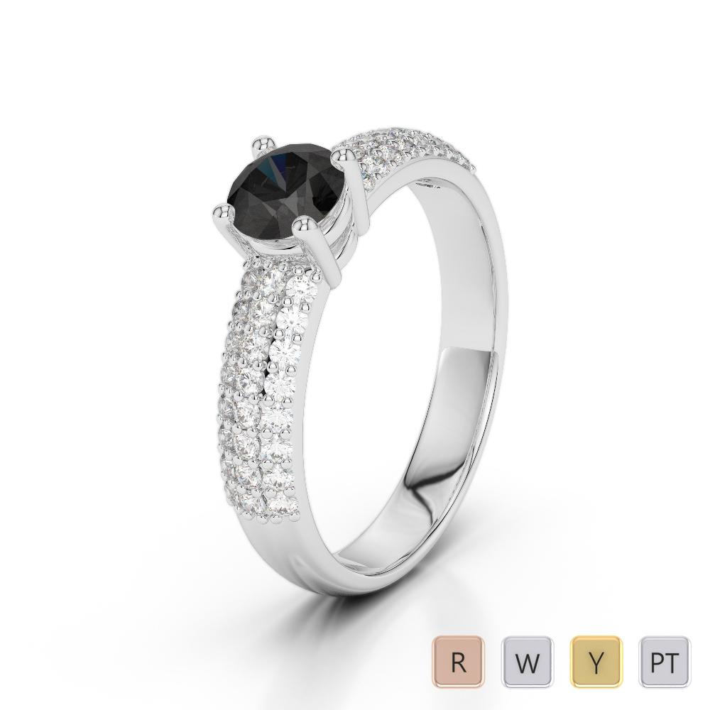 Gold / Platinum Round Cut Black Diamond with Diamond Engagement Ring AGDR-1179