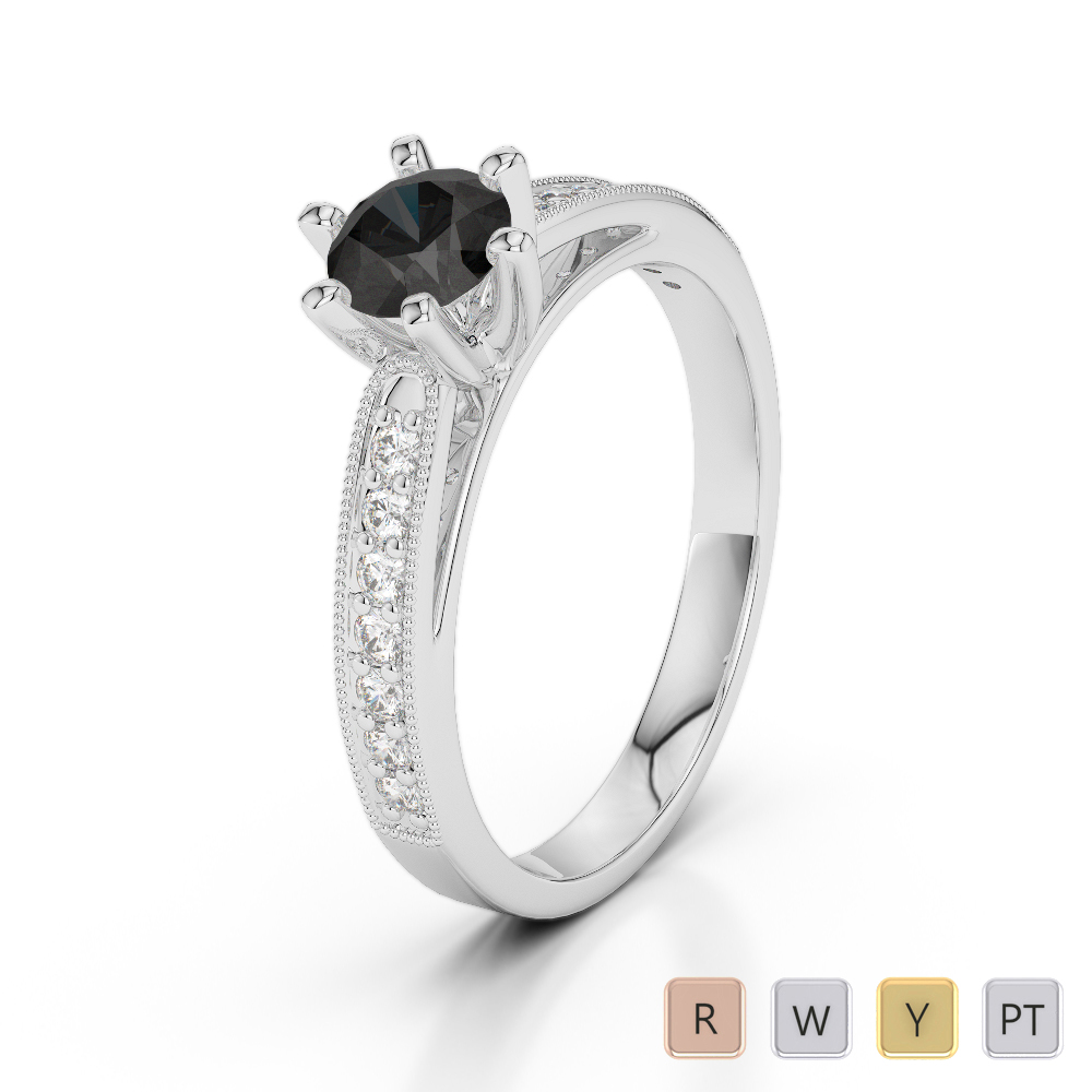 Gold / Platinum Round Cut Black Diamond with Diamond Engagement Ring AGDR-1181