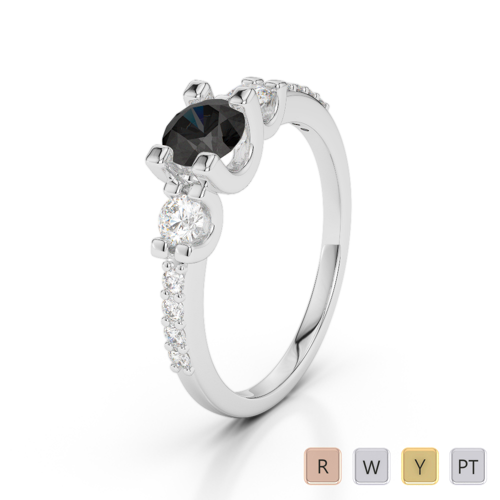 Gold / Platinum Round Cut Black Diamond with Diamond Engagement Ring AGDR-1182