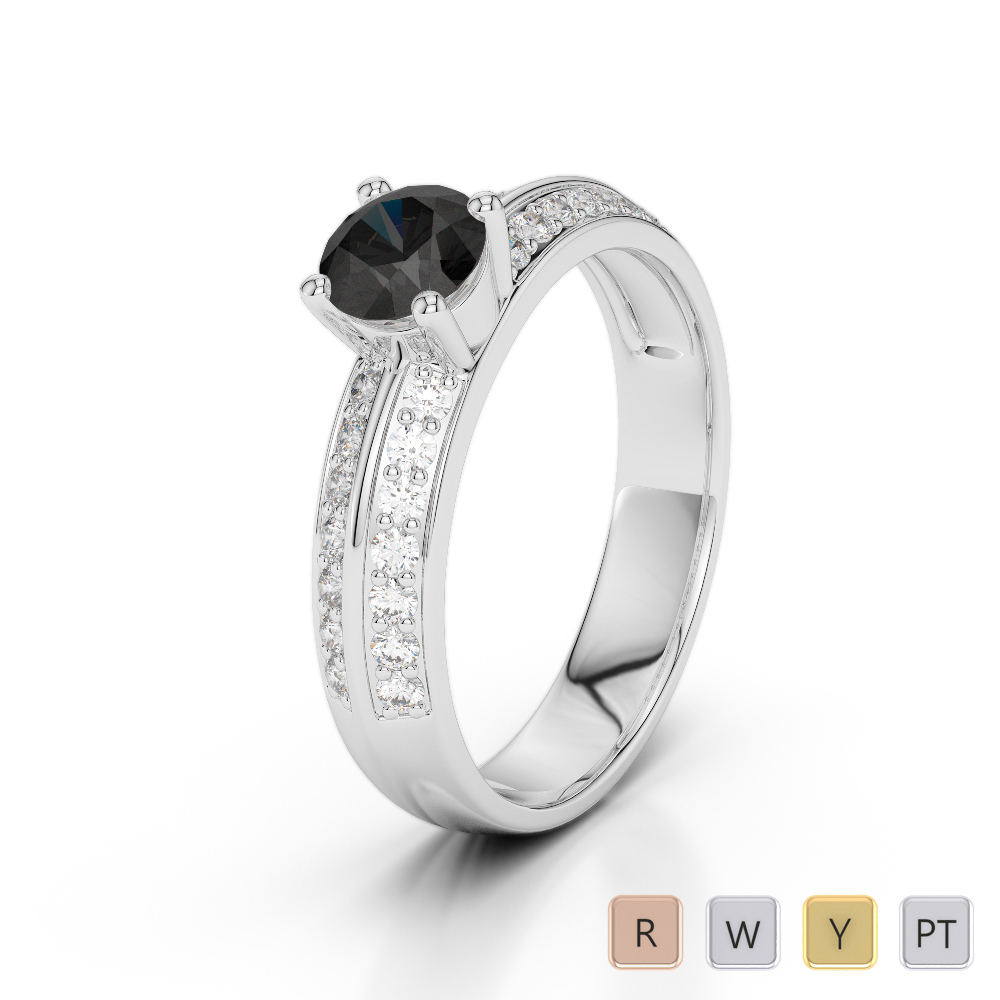 Gold / Platinum Round Cut Black Diamond with Diamond Engagement Ring AGDR-1183