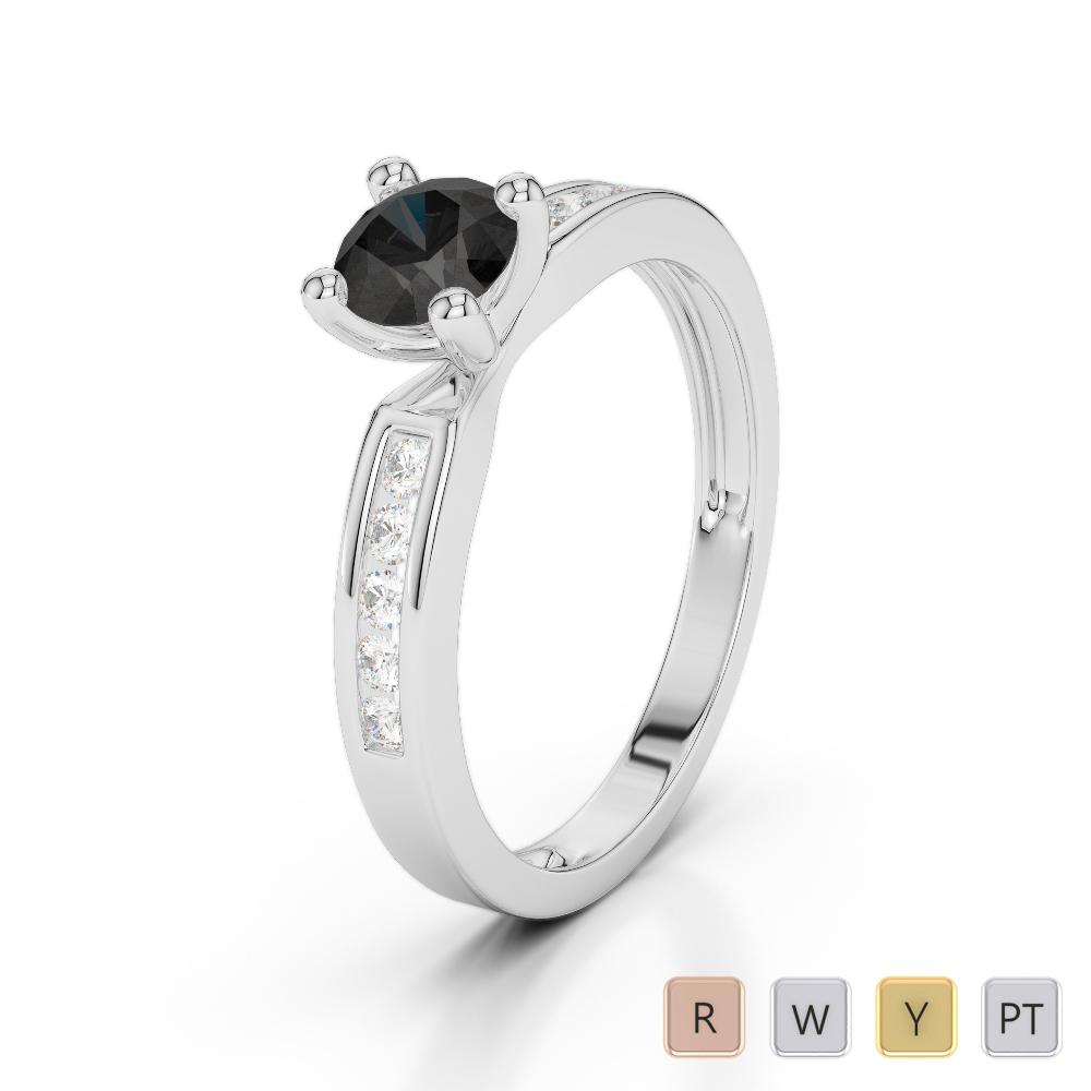 Gold / Platinum Round Cut Black Diamond with Diamond Engagement Ring AGDR-1184