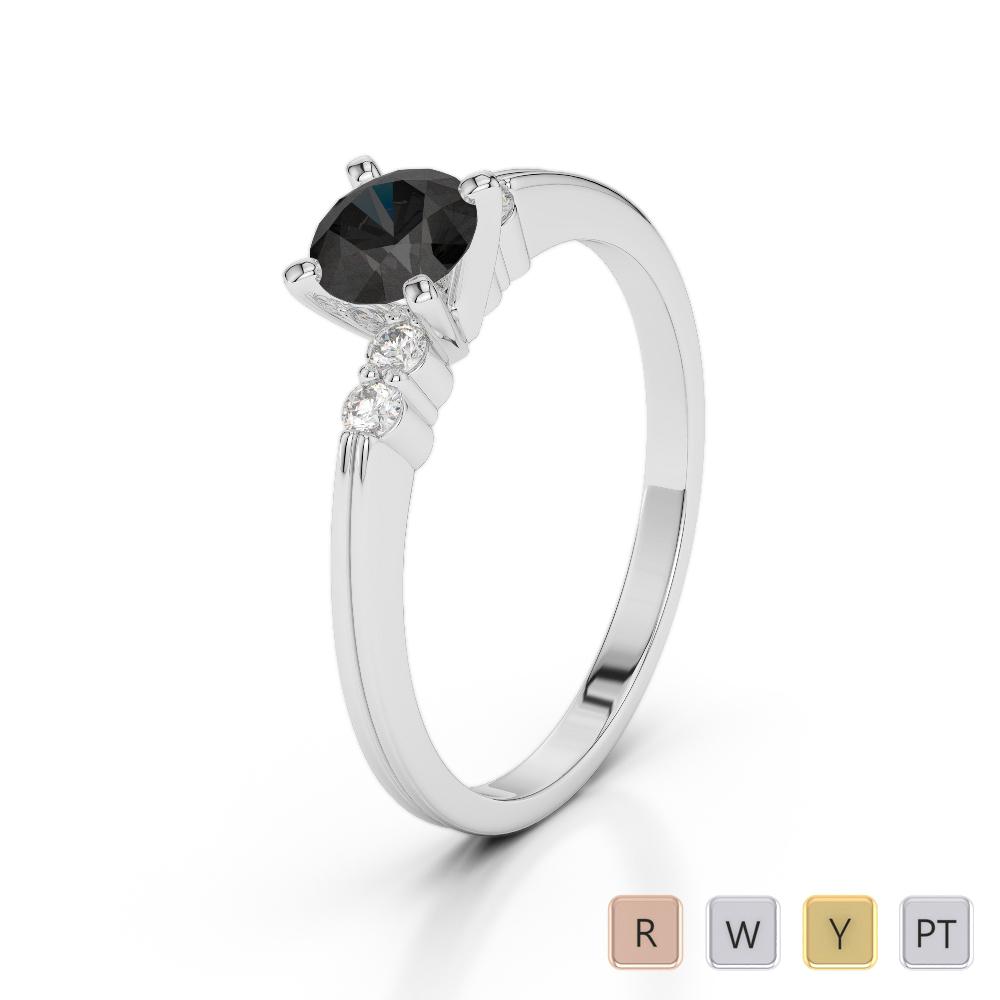 Gold / Platinum Round Cut Black Diamond with Diamond Engagement Ring AGDR-1185