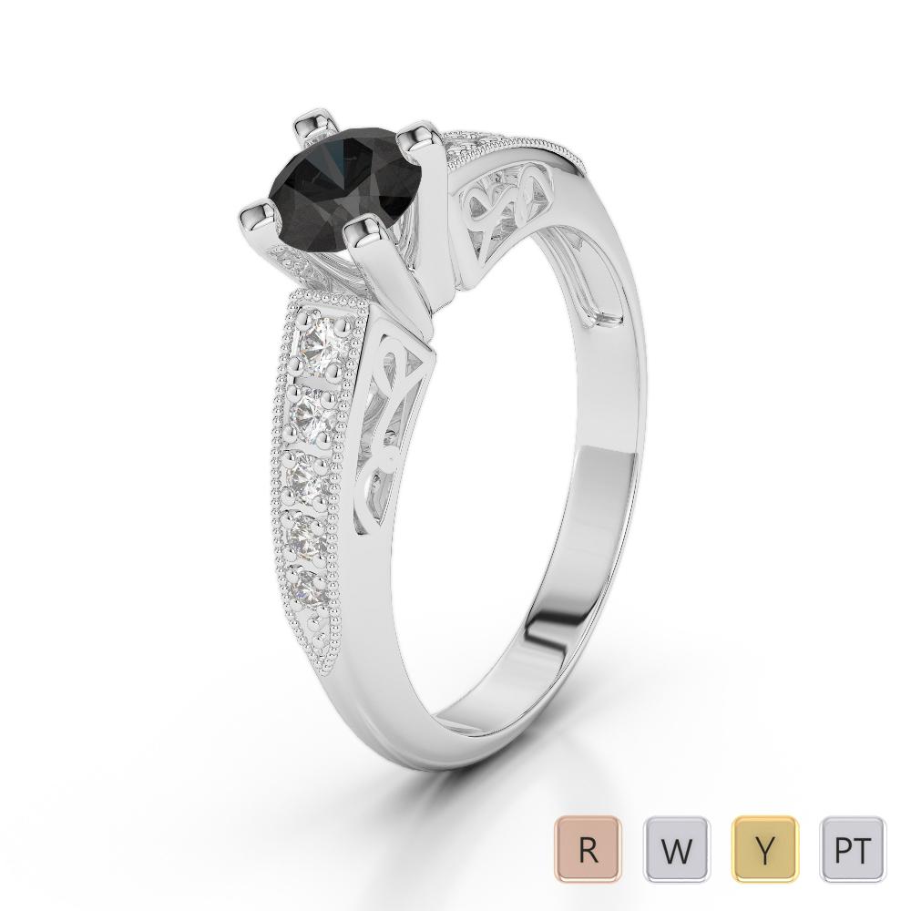 Gold / Platinum Round Cut Black Diamond with Diamond Engagement Ring AGDR-1187