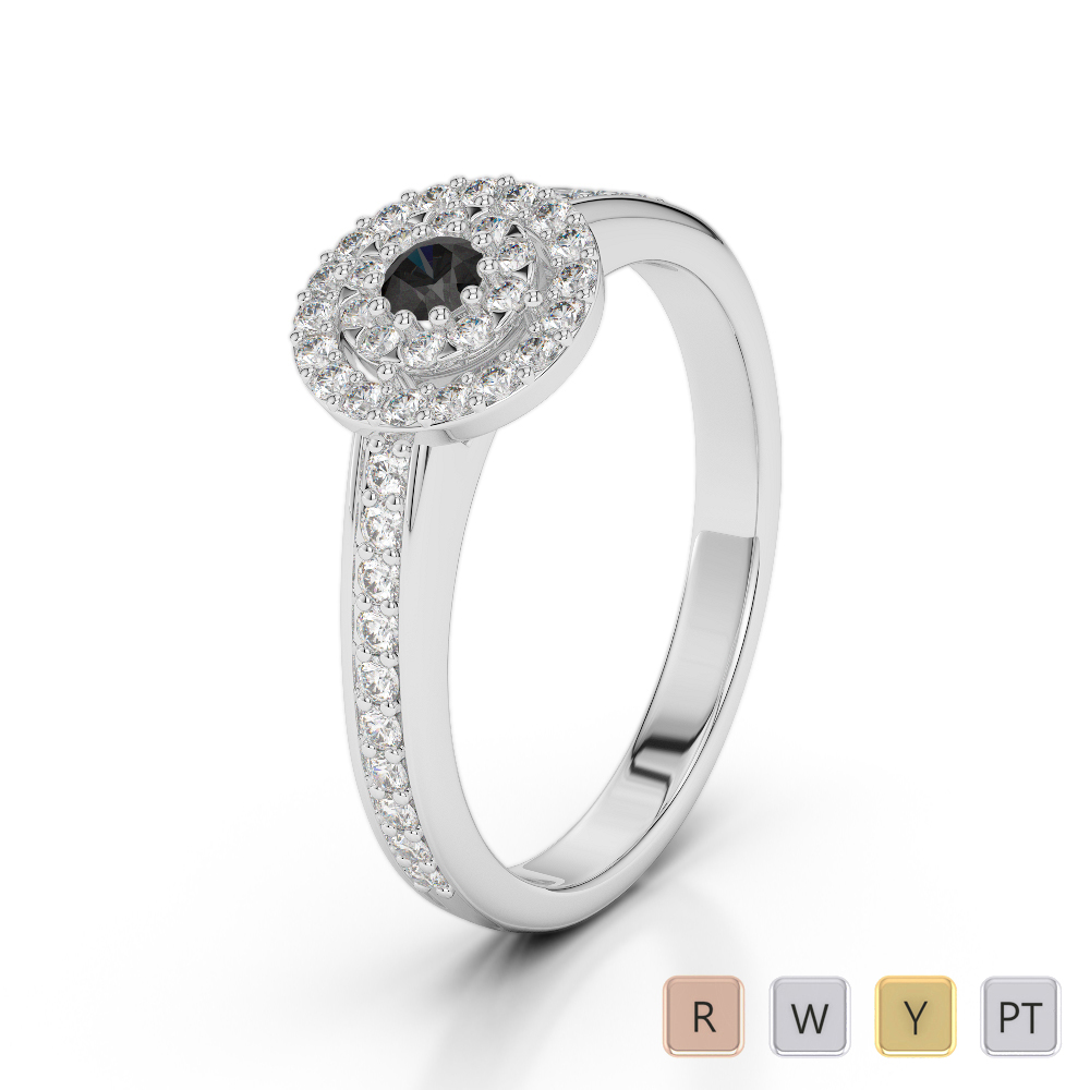 Gold / Platinum Round Cut Black Diamond with Diamond Engagement Ring AGDR-1188