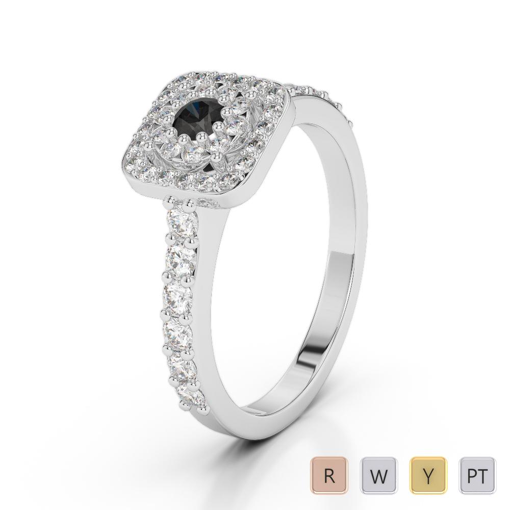 Gold / Platinum Round Cut Black Diamond with Diamond Engagement Ring AGDR-1189