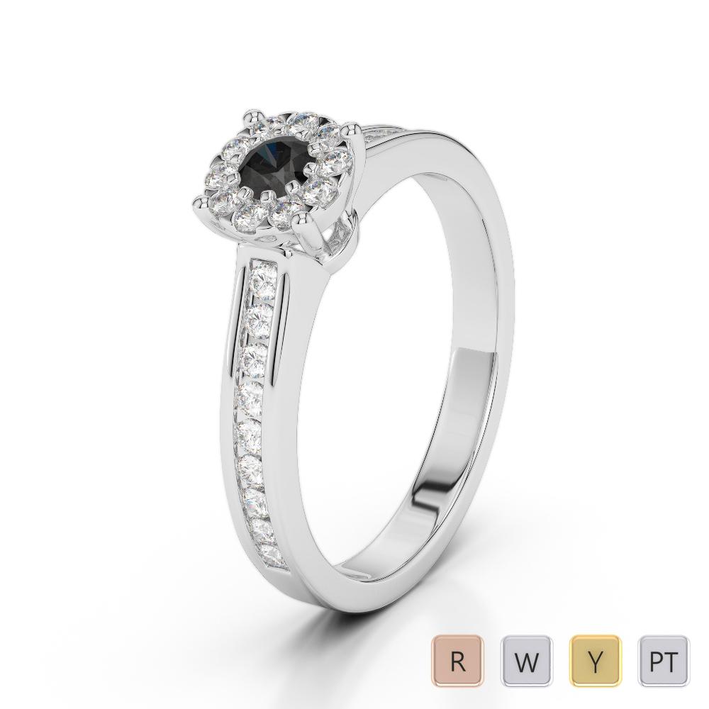 Gold / Platinum Round Cut Black Diamond with Diamond Engagement Ring AGDR-1190