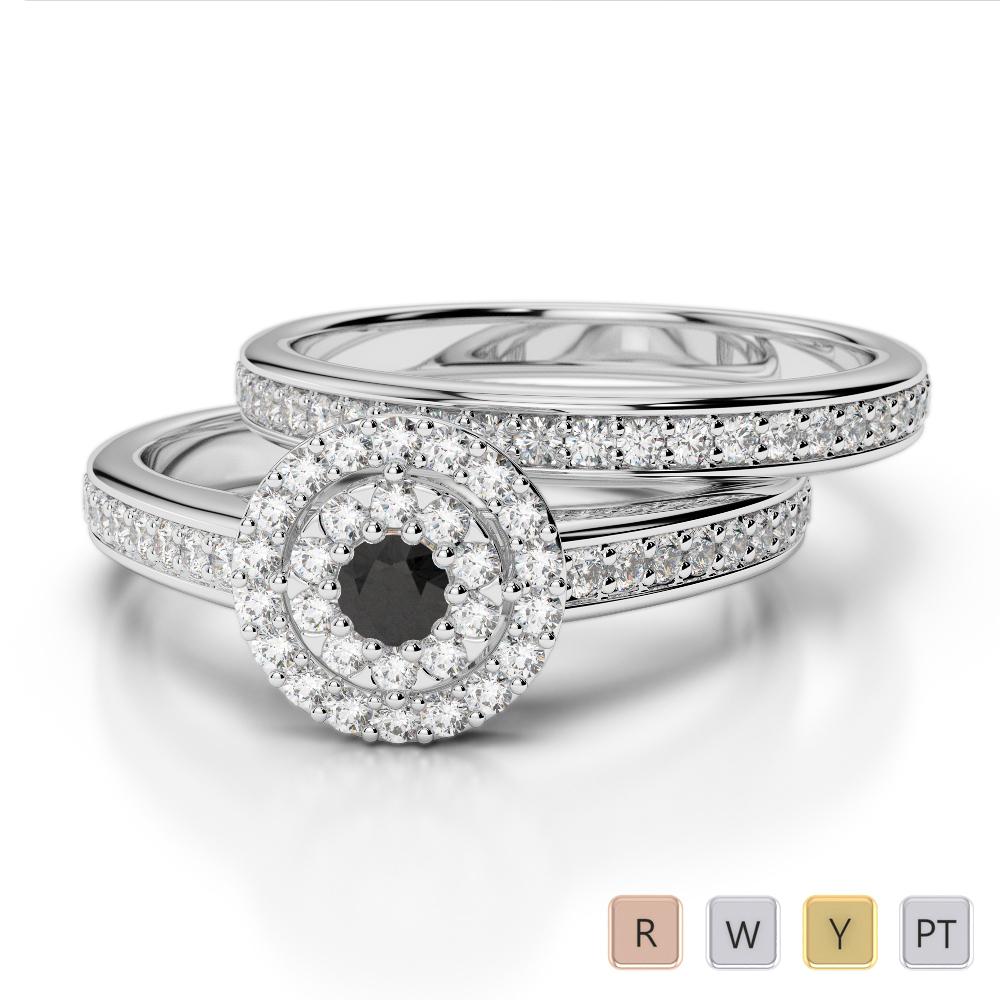 Gold / Platinum Round cut Black Diamond with Diamond Bridal Set Ring AGDR-1239