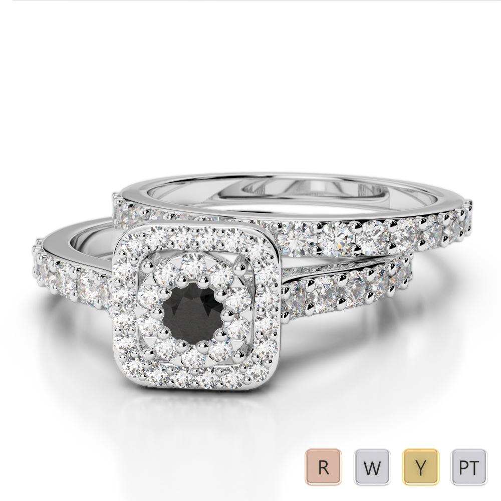 Gold / Platinum Round cut Black Diamond with Diamond Bridal Set Ring AGDR-1246