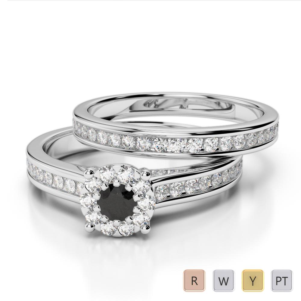 Gold / Platinum Round cut Black Diamond with Diamond Bridal Set Ring AGDR-1339