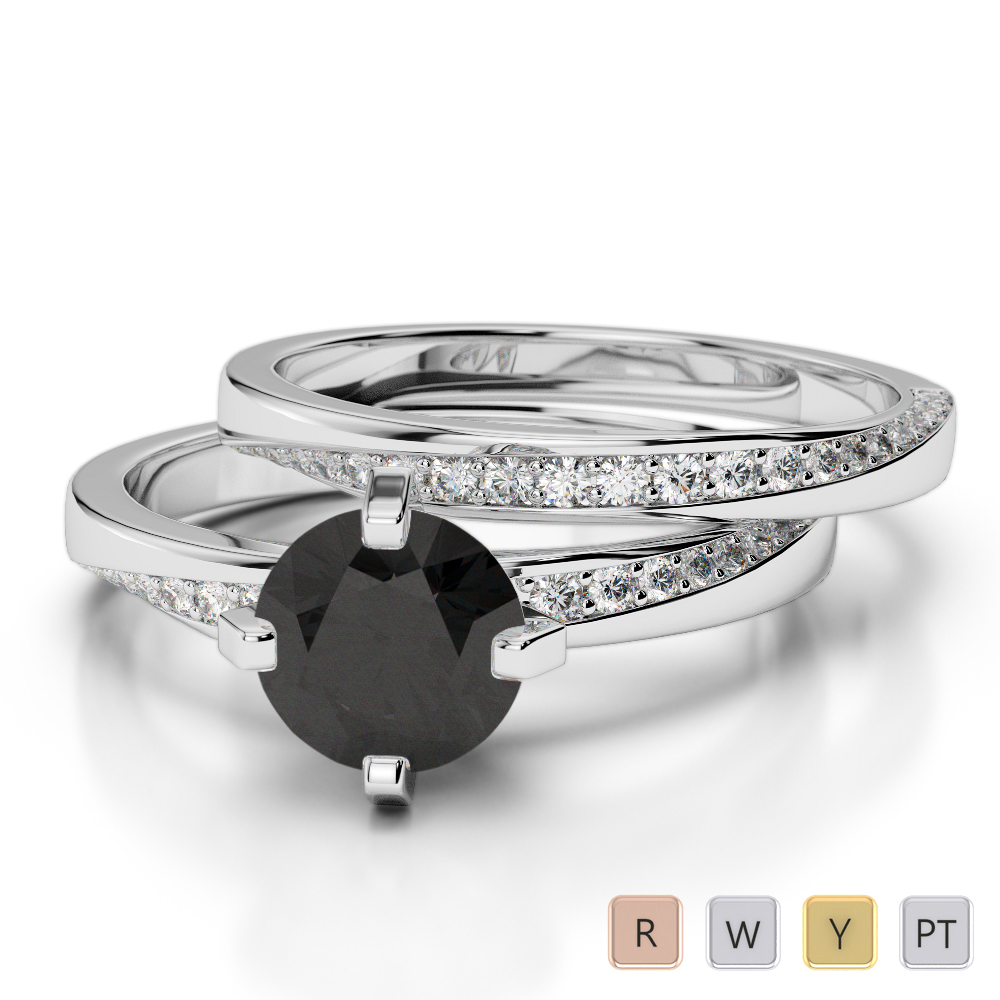Gold / Platinum Round cut Black Diamond with Diamond Bridal Set Ring AGDR-2001