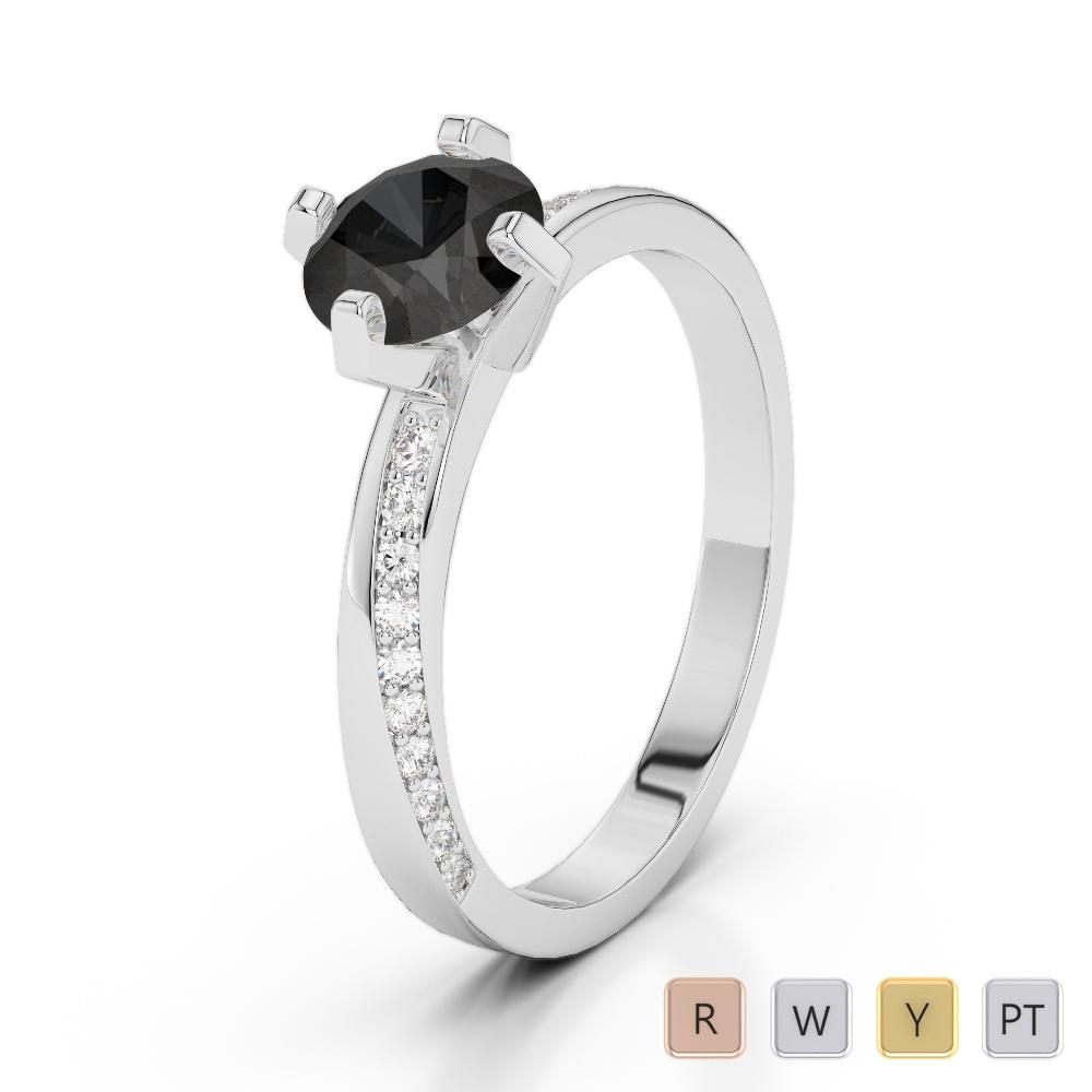 Gold / Platinum Round Cut Black Diamond with Diamond Engagement Ring AGDR-2002