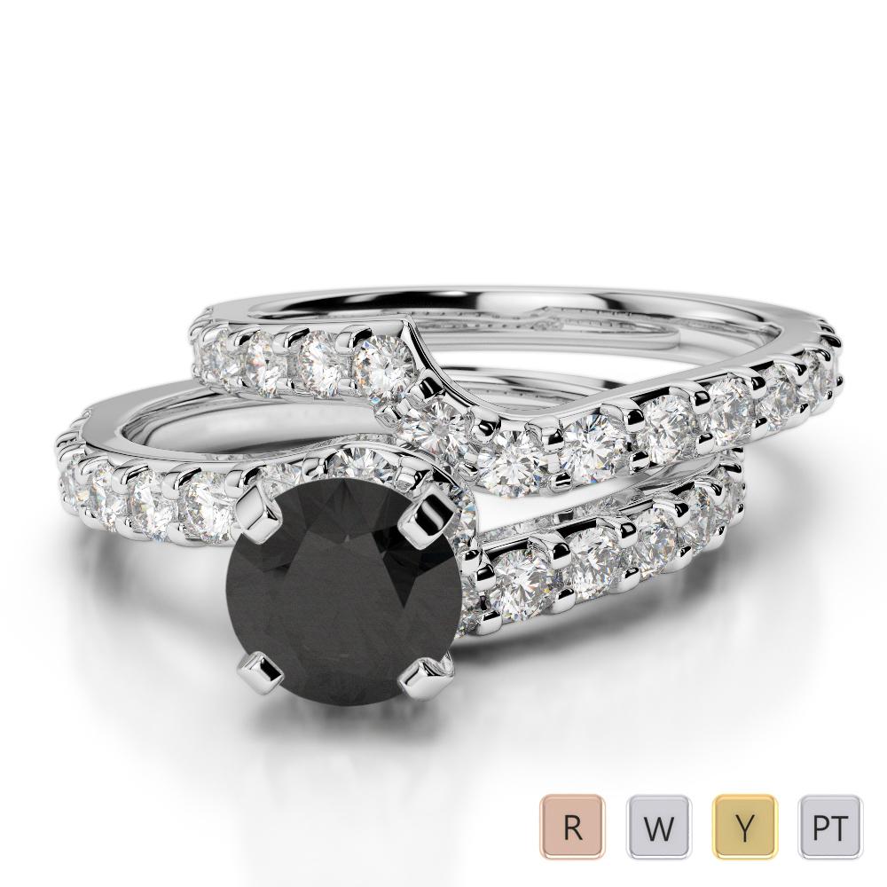 Gold / Platinum Round cut Black Diamond with Diamond Bridal Set Ring AGDR-2003