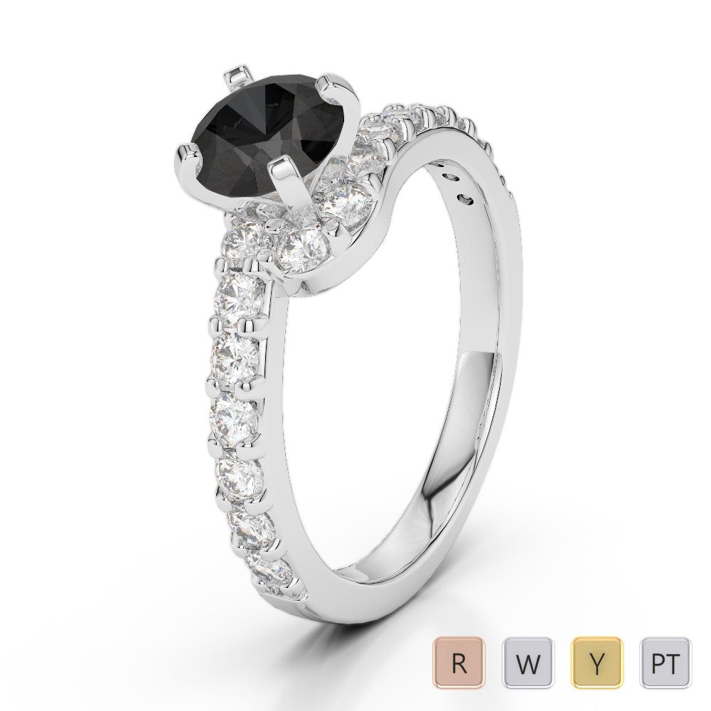 Gold / Platinum Round Cut Black Diamond with Diamond Engagement Ring AGDR-2004