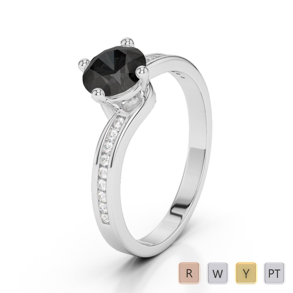 Gold / Platinum Round Cut Black Diamond with Diamond Engagement Ring AGDR-2006