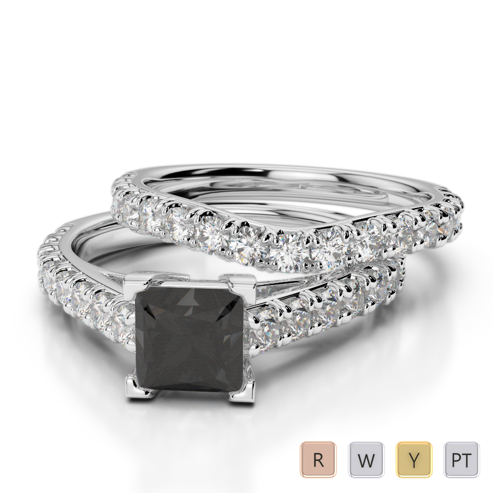 Gold / Platinum Round and Princess cut Black Diamond with Diamond Bridal Set Ring AGDR-2007