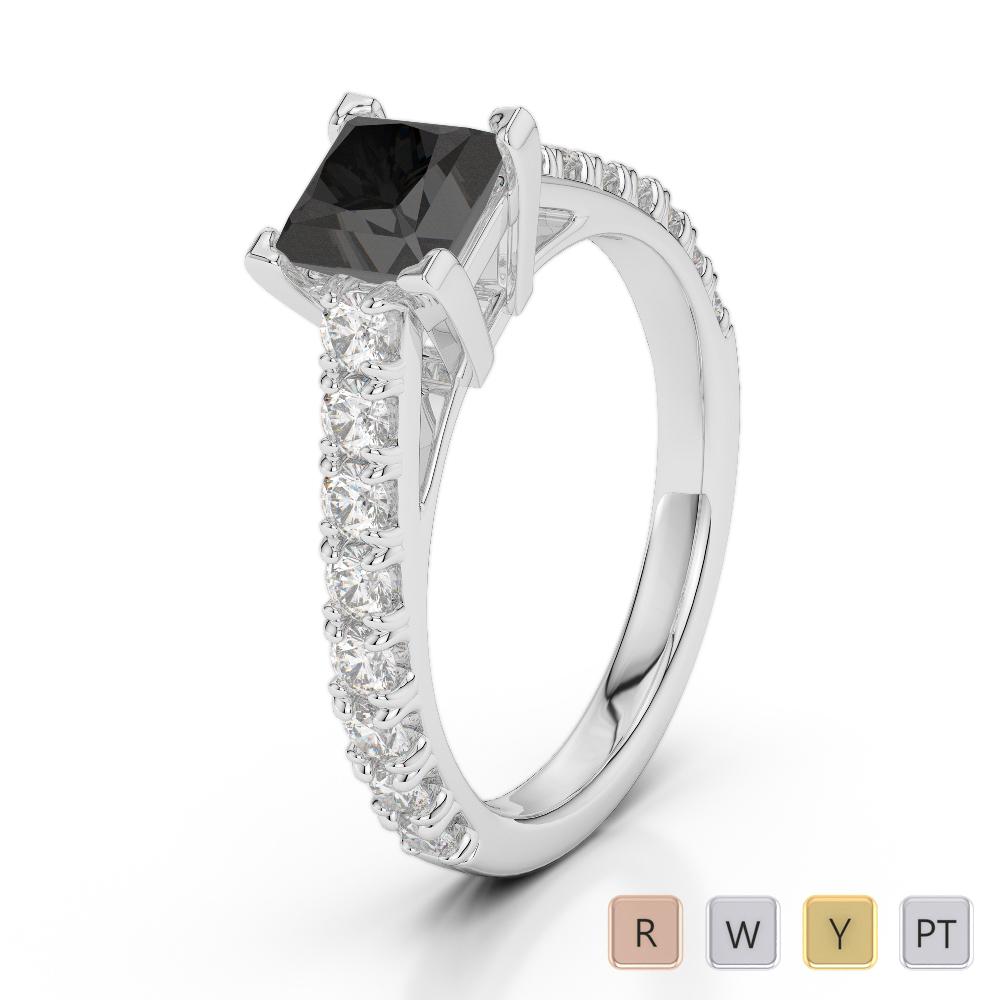 Gold / Platinum Round and Princess Cut Black Diamond with Diamond Engagement Ring AGDR-2008
