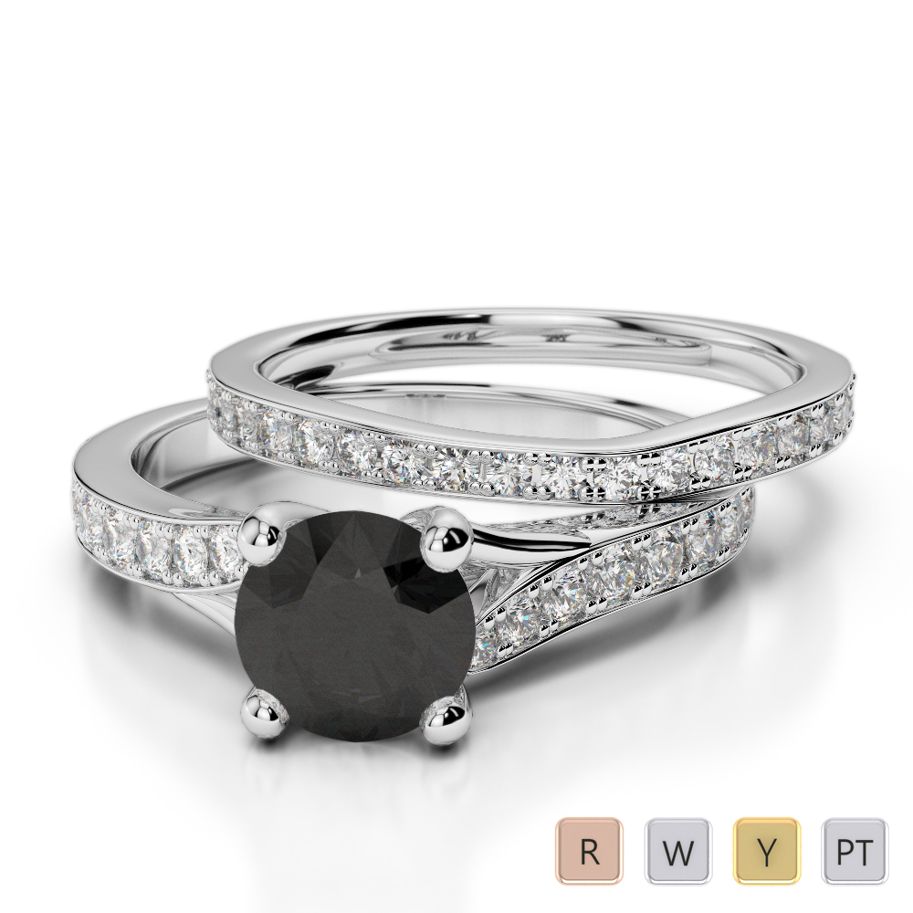 Gold / Platinum Round cut Black Diamond with Diamond Bridal Set Ring AGDR-2011