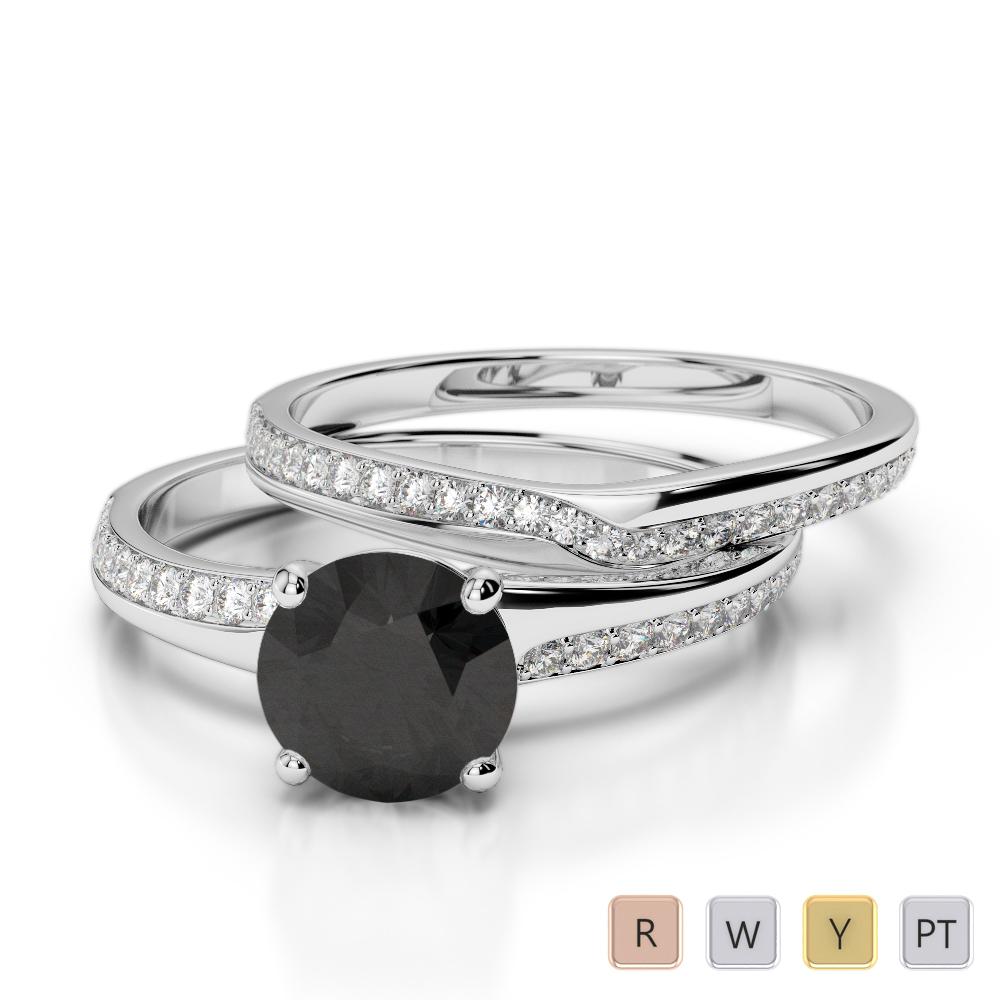 Gold / Platinum Round cut Black Diamond with Diamond Bridal Set Ring AGDR-2015
