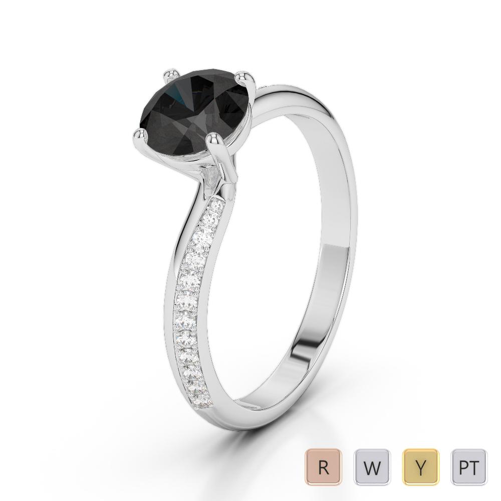 Gold / Platinum Round Cut Black Diamond with Diamond Engagement Ring AGDR-2018