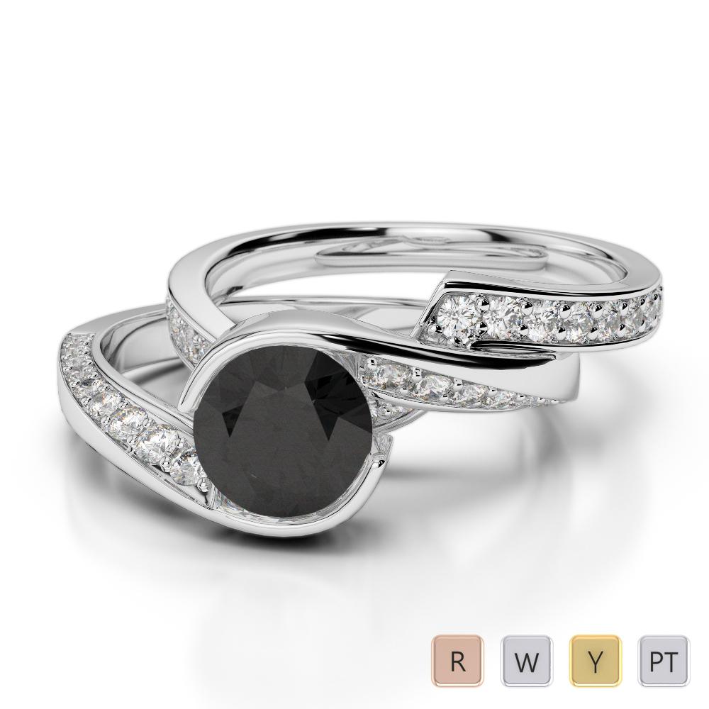 Gold / Platinum Round cut Black Diamond with Diamond Bridal Set Ring AGDR-2019