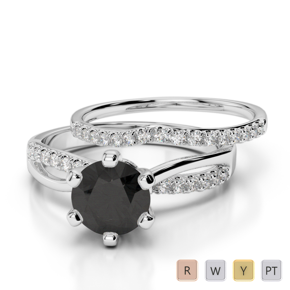 Gold / Platinum Round cut Black Diamond with Diamond Bridal Set Ring AGDR-2021