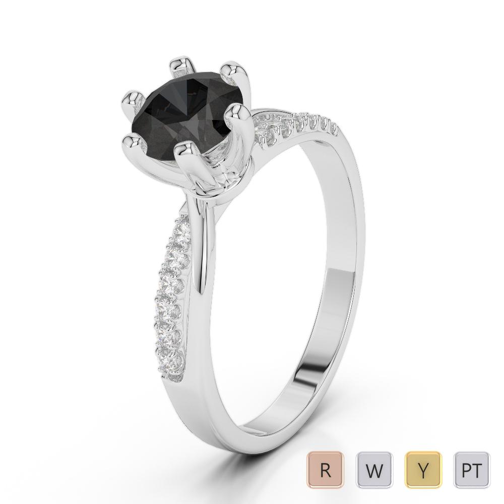 Gold / Platinum Round Cut Black Diamond with Diamond Engagement Ring AGDR-2022