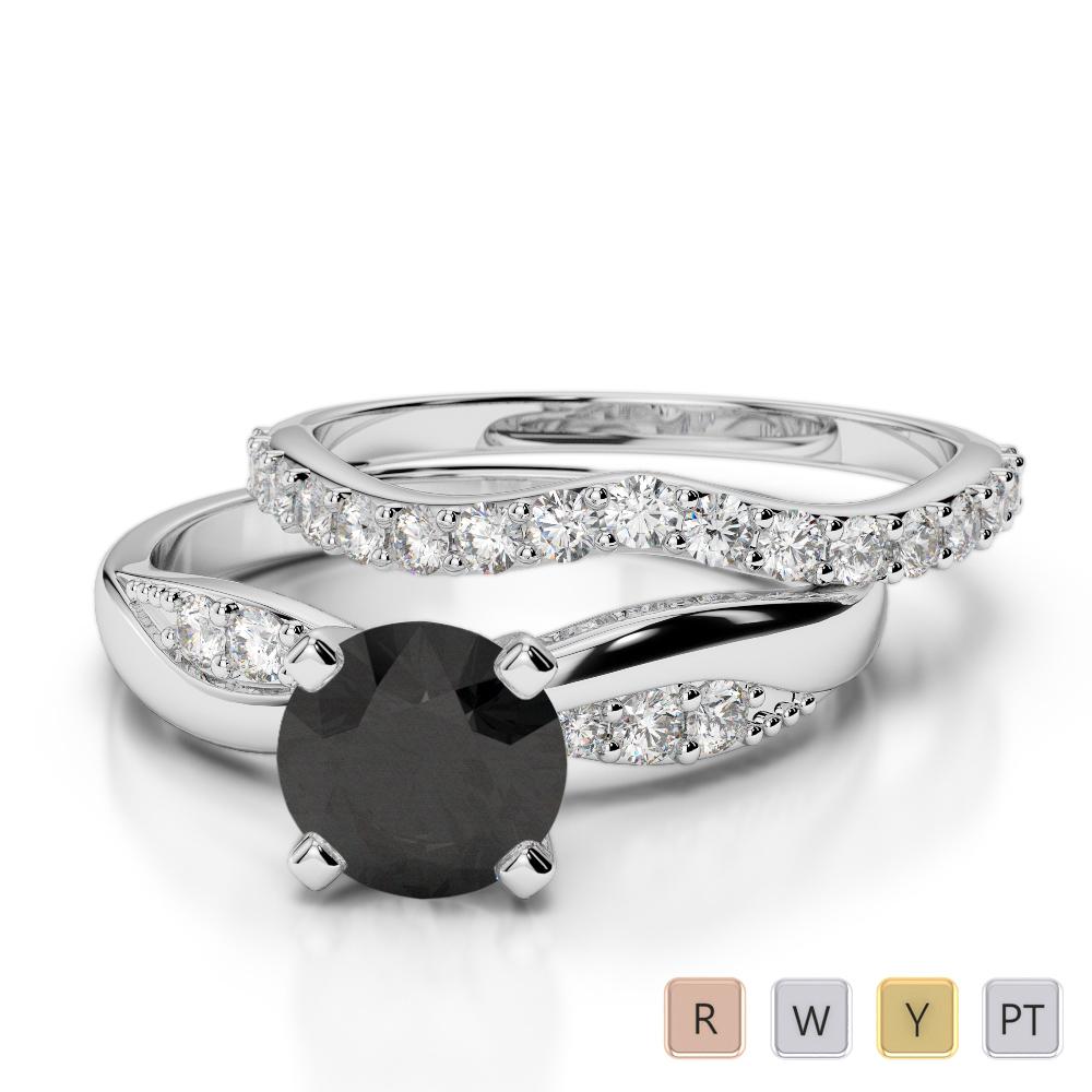 Gold / Platinum Round cut Black Diamond with Diamond Bridal Set Ring AGDR-2023